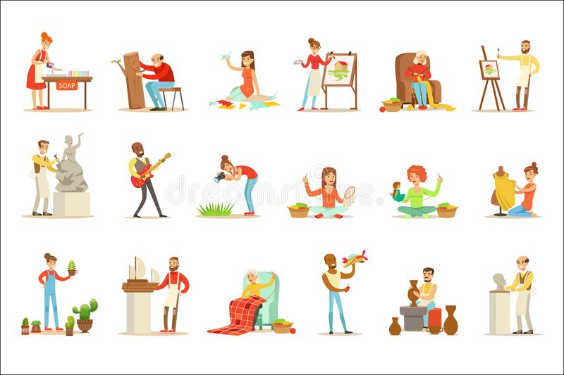 Vuxet folk och deras idérika och konstnärliga hobbyuppsättning av tecknad filmtecken som gör deras favorit- saker stock illustrationer