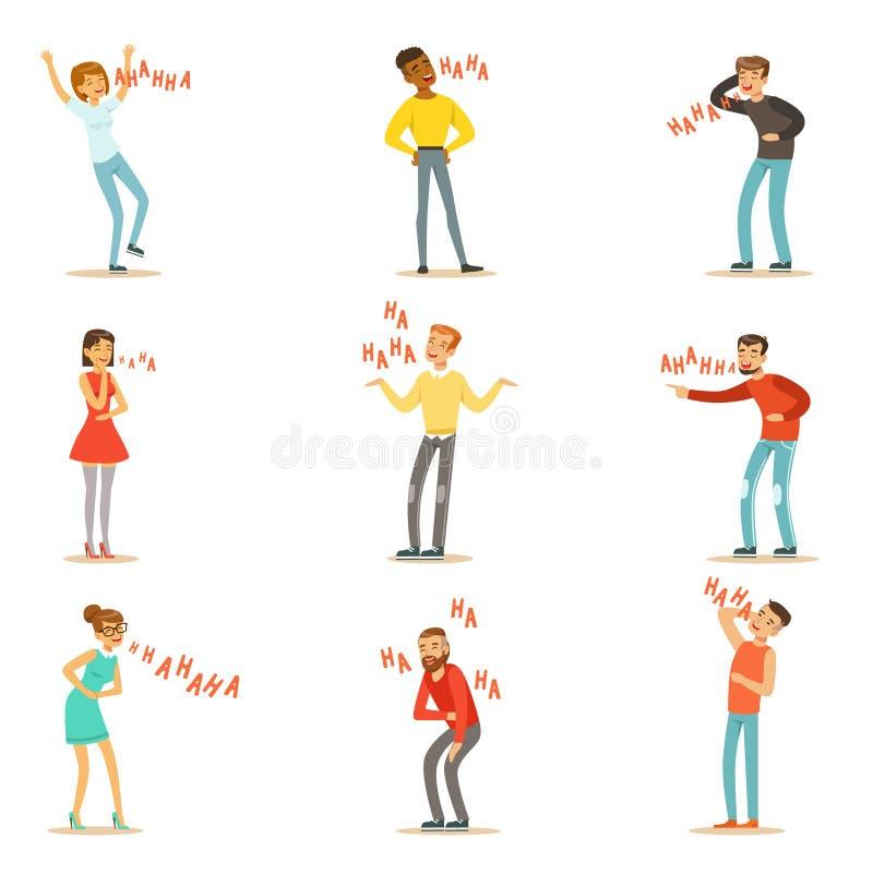 Vuxna människor som Hysterically ut skrattar den höga uppsättningen av tecknad filmtecken med skrattet och fnisset som stavas i t stock illustrationer