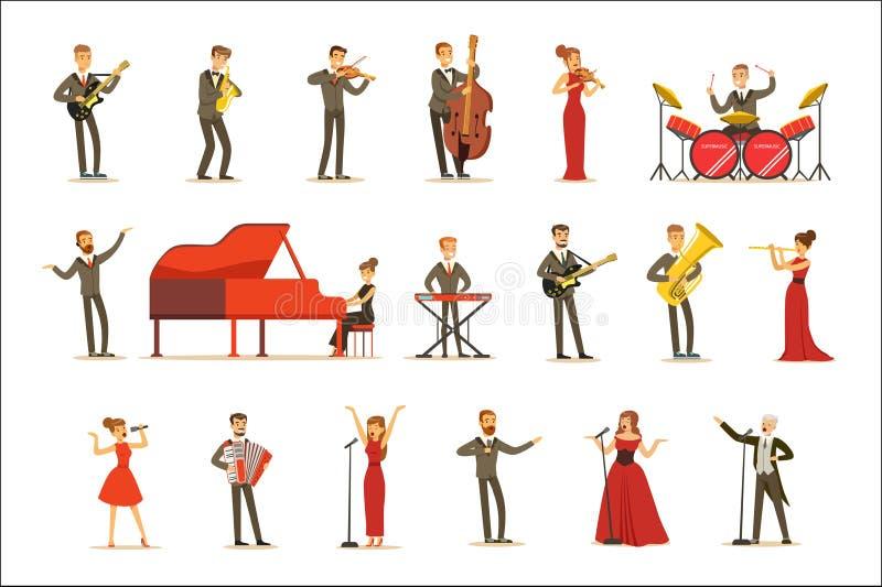 Vuxna musiker och sångare som utför ett musikaliskt nummer på etapp i musik Hall Set Of Cartoon Characters vektor illustrationer