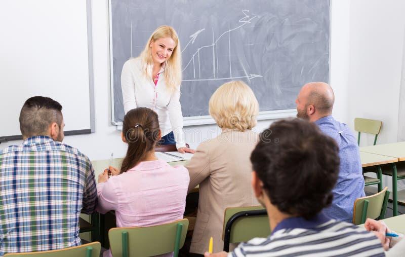 Vuxna studenter med läraren i klassrum fotografering för bildbyråer