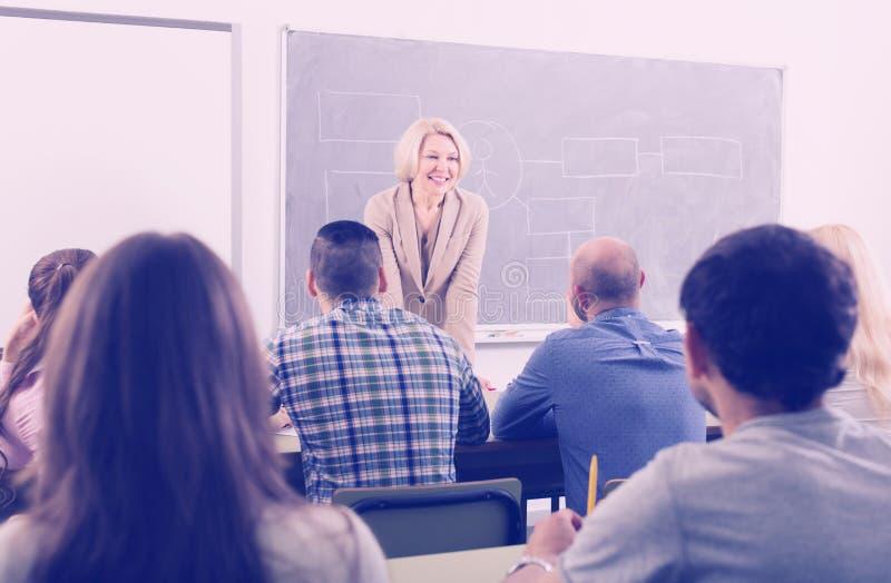 Vuxna studenter med läraren i klassrum royaltyfria bilder