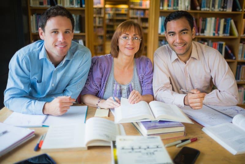 Vuxna studenter som tillsammans studerar i arkivet fotografering för bildbyråer