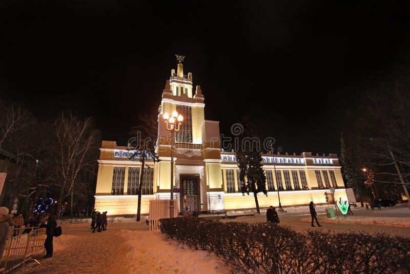 VVC (poprzedni HDNH) powystawowy centre w zimy nocy, Moskwa obrazy royalty free