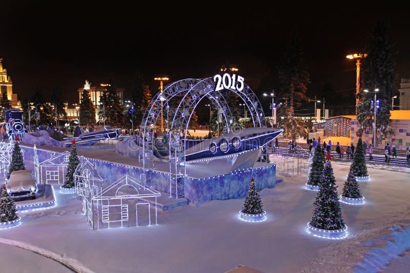 VVC (poprzedni HDNH) powystawowy centre w zimy nocy, Moskwa zdjęcie stock