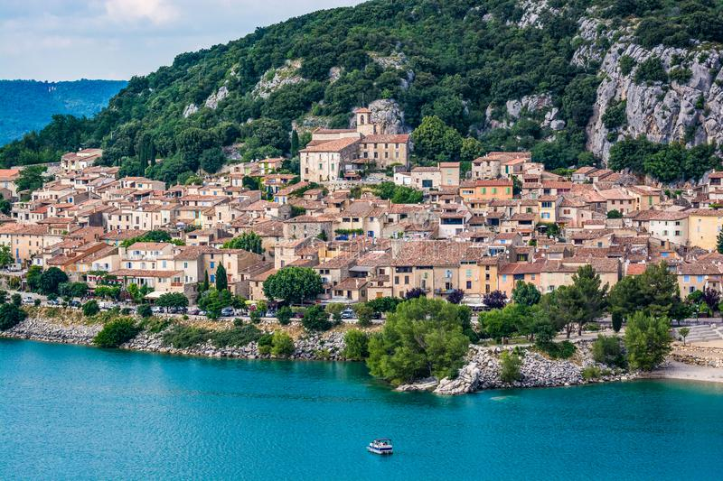 VVillage of Bauduen on the shore of the Lac de Sainte-Croix, in the South of France. Old village of Bauduen on the shore of the Lac de Sainte-Croix, in the South royalty free stock images