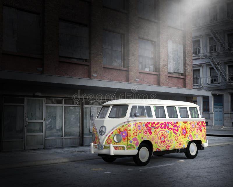VW嬉皮和平公共汽车,范,城市 库存图片
