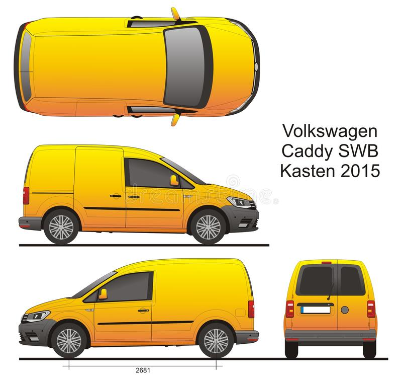 VW小型运车SWB Kasten 2015年 向量例证