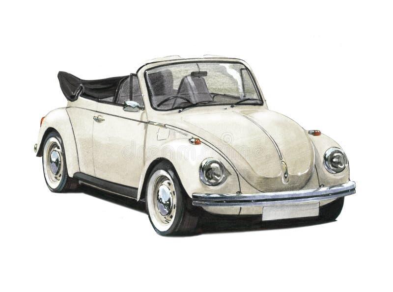 VW甲虫敞篷车20世纪70年代 库存例证