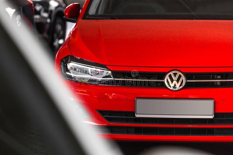 VW-auto in siegen Duitsland stock afbeelding