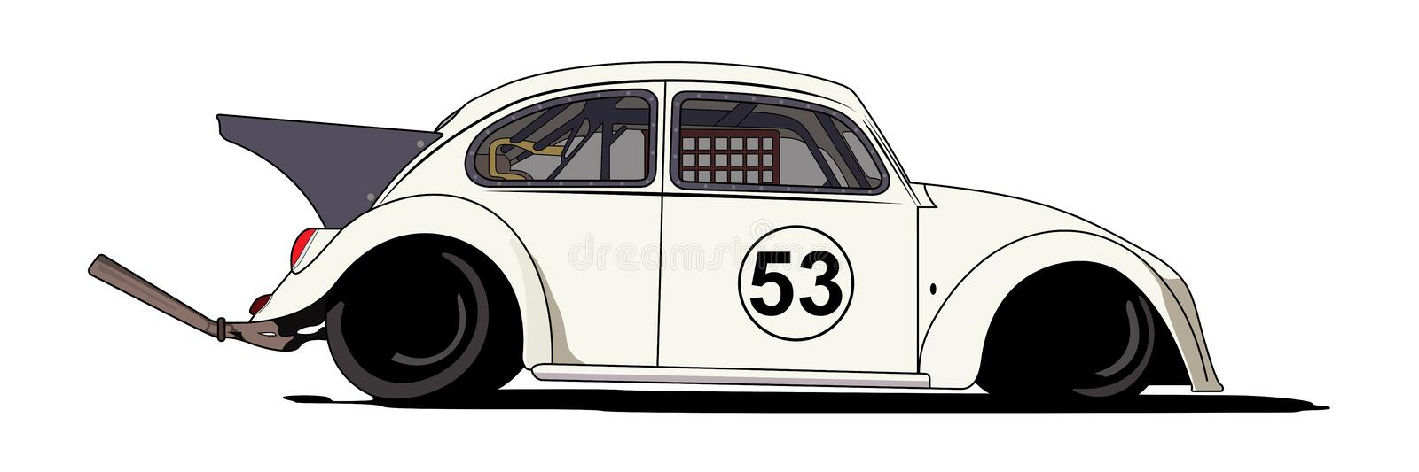 VW Beetle Herbie 1963 vector illustration