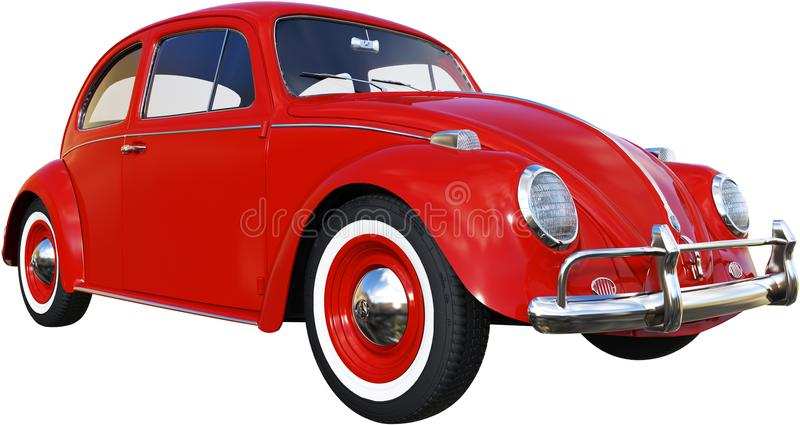 VW Bug, Red Volkswagen, Isolated, Retro stock images