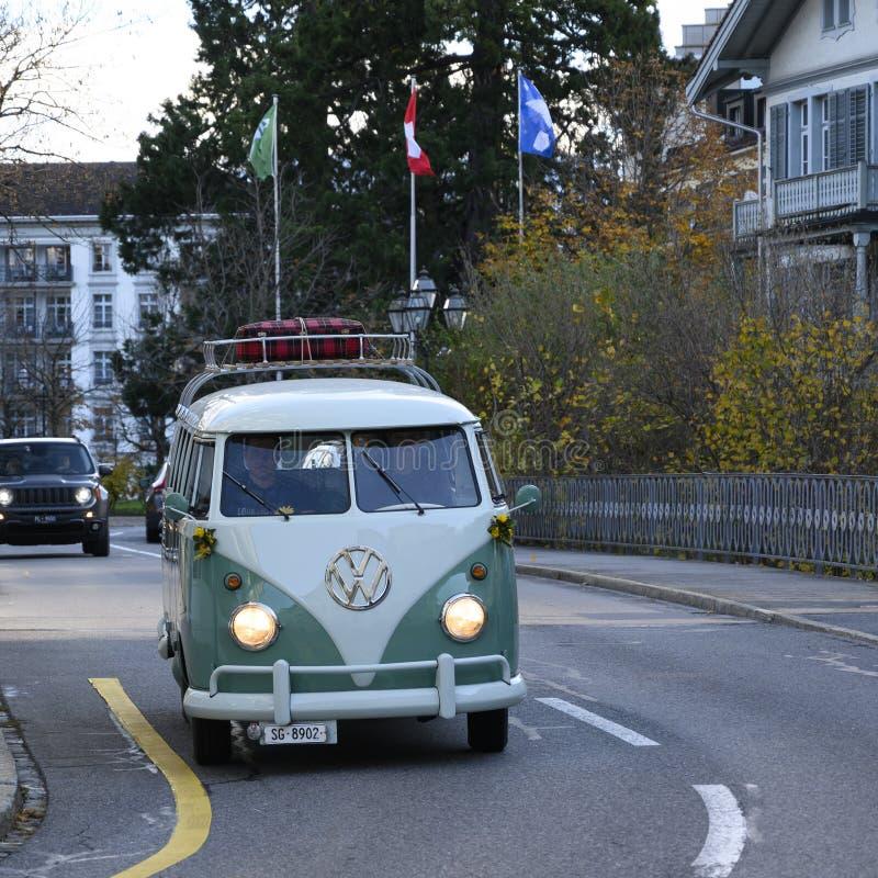 VW Bully, Volkswagen, Vintage Van on roadtrip royalty free stock photography