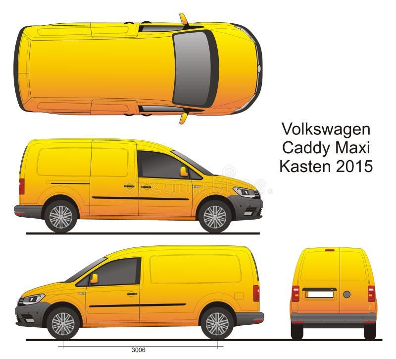 VW Caddy μεγάλου μεγέθους Kasten 2015 διανυσματική απεικόνιση