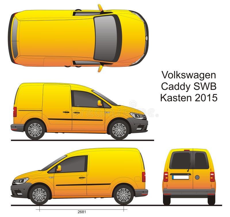 VW Caddy SWB Kasten 2015 διανυσματική απεικόνιση