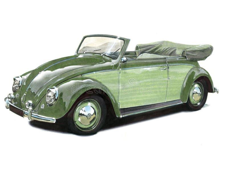 VW-Convertibele Kever stock illustratie