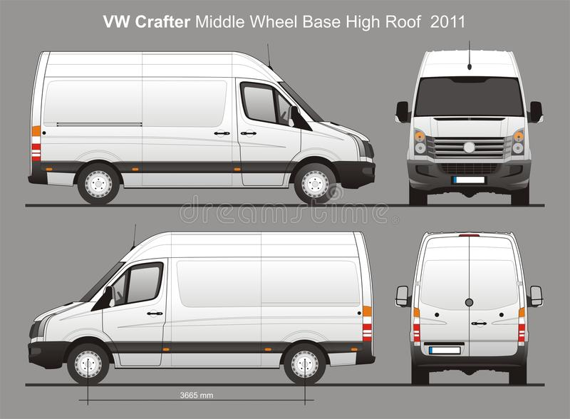 VW Crafter LWB Delivery Van Blueprint Editorial Stock Photo