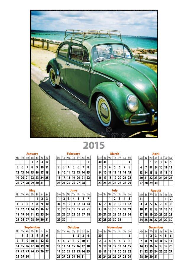 VW del vintage de 2015 calendarios ilustración del vector