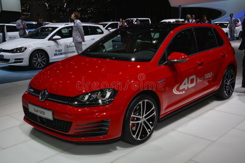VW Golf GTD an der Genf-Autoausstellung lizenzfreies stockbild