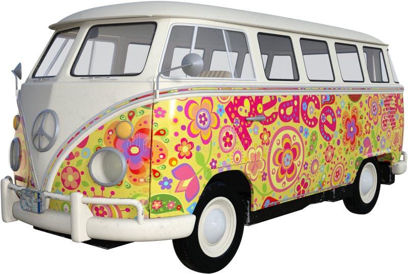 VW Hipis Van Autobus Odizolowywający, rocznik, Retro ilustracja wektor