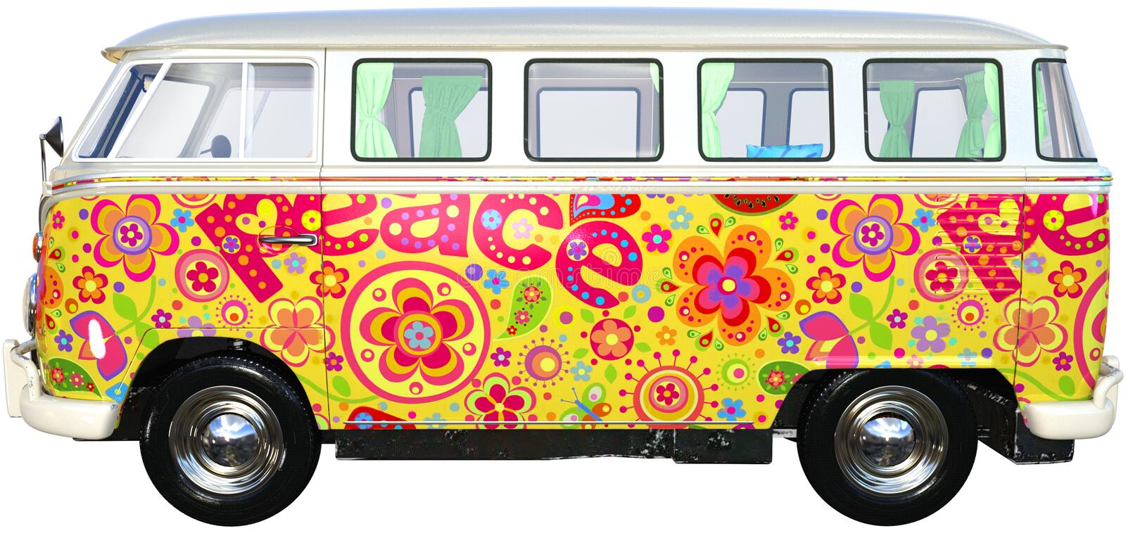 VW Hippie Bus Van Isolated, Volkswagen. Vintage retro VW Volkswagen Hippie bus van. Nostalgia throwback to the sixties when peace and love was the culture