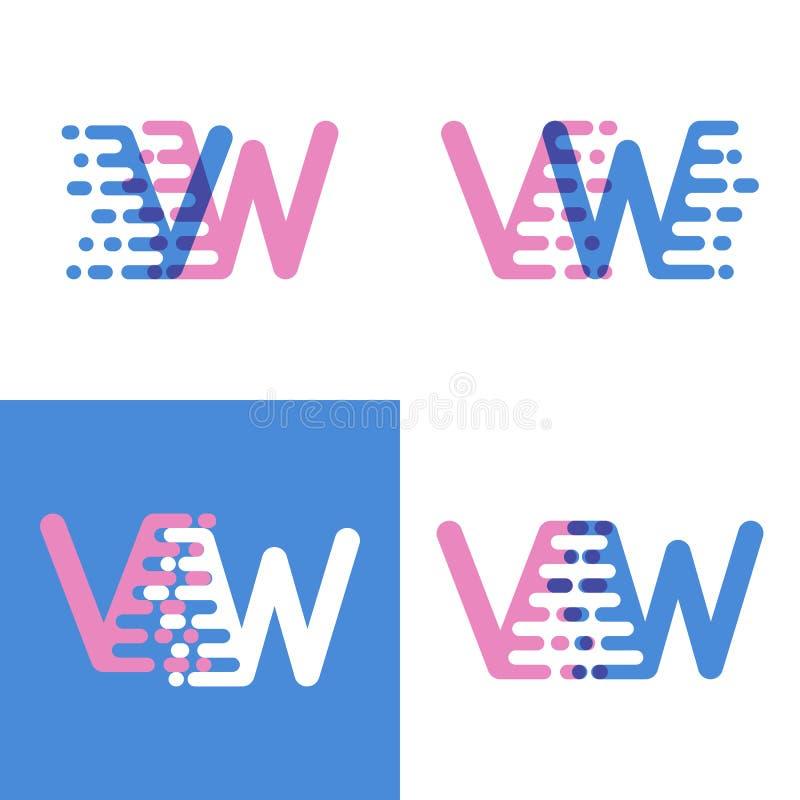 VW marque avec des lettres le logo avec le rose et doucement le bleu de vitesse d'accent doucement illustration stock