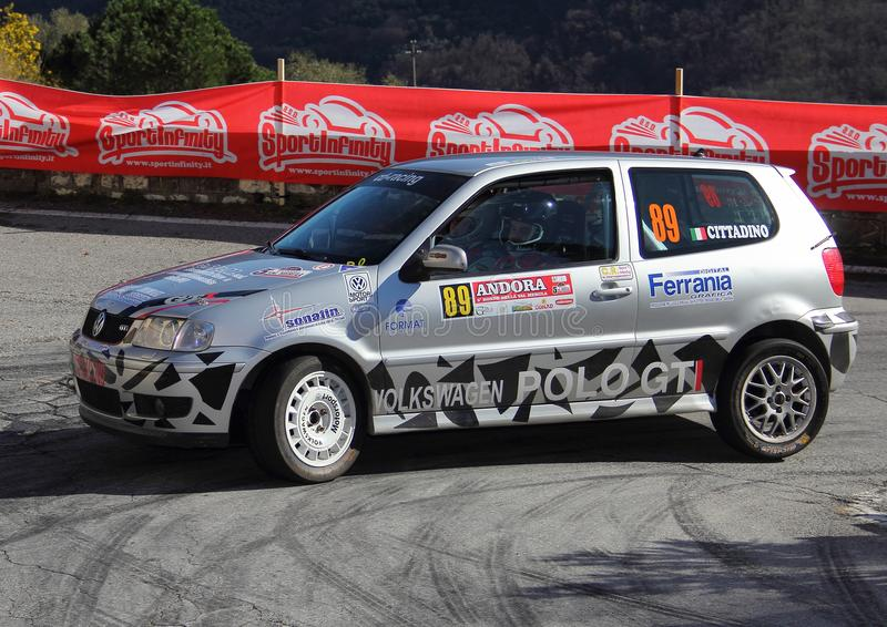 A VW Polo GTI race car involved in the race. During the fifth edition of the `Ronde Della Val Merula` that took place in Italy, in the hinterland of Albenga on stock photos