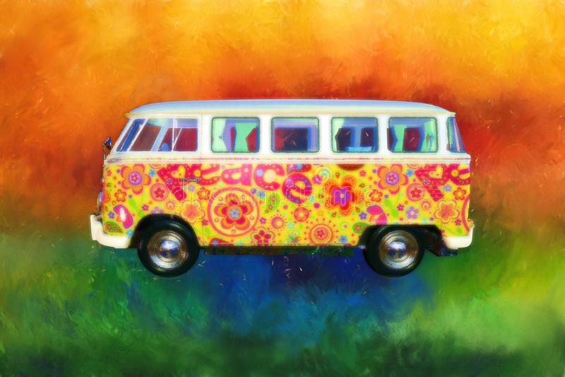 VW Van, bus, anni sessanta di hippy di Psychedlic royalty illustrazione gratis