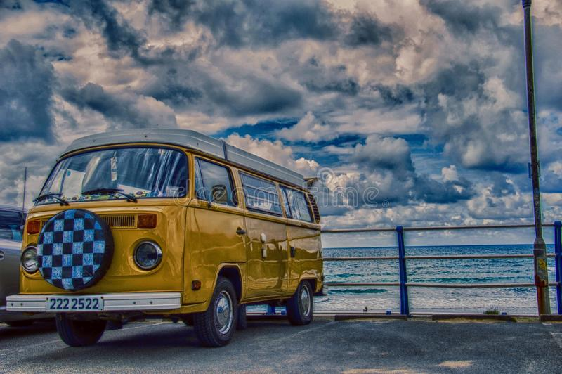 VW Westfalia Portreath Cornwall in UK royalty free stock image