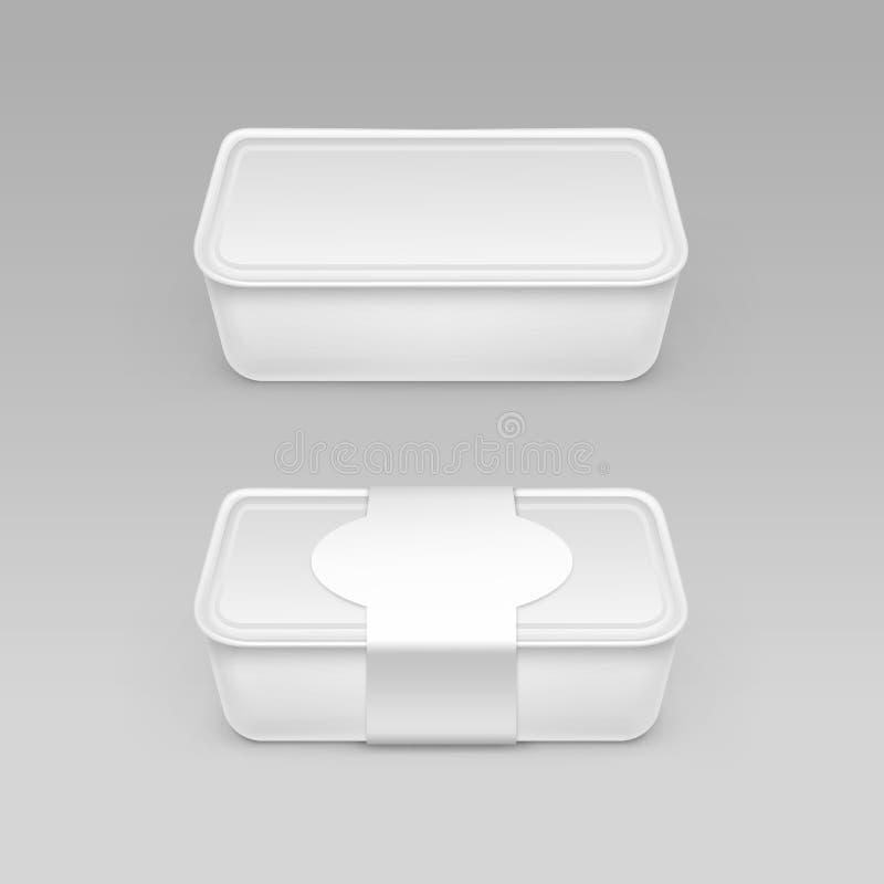 VWhite förbigår behållaren för den plast- asken för mat för ost, glass, gräddfil med etikettslut som isoleras upp på bakgrund vektor illustrationer