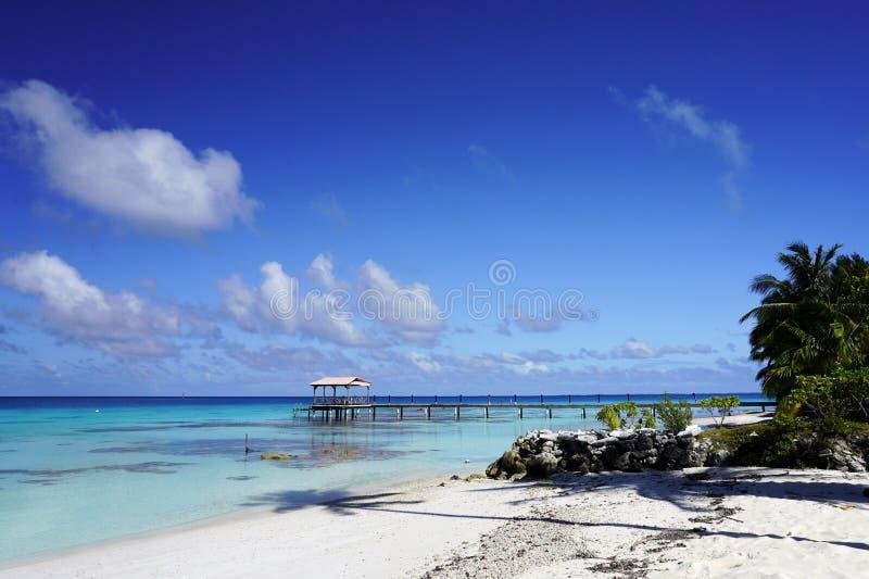 Vy av en hamn från en sandstrand med palmträd som leder in i en blå lagun på en tropisk ö royaltyfri foto