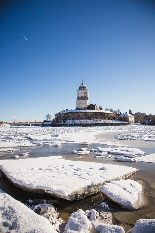 Vyborg castle winter royalty free stock image