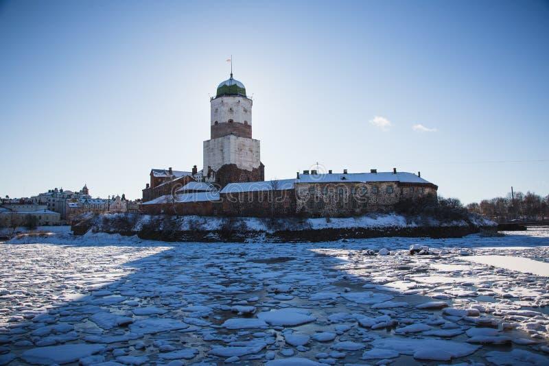 Vyborg castle winter stock photo