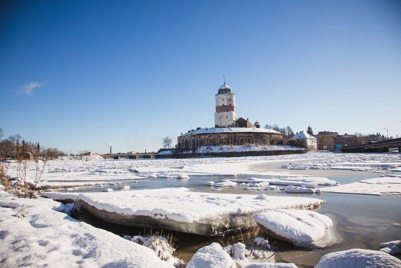 Vyborg castle winter stock photography