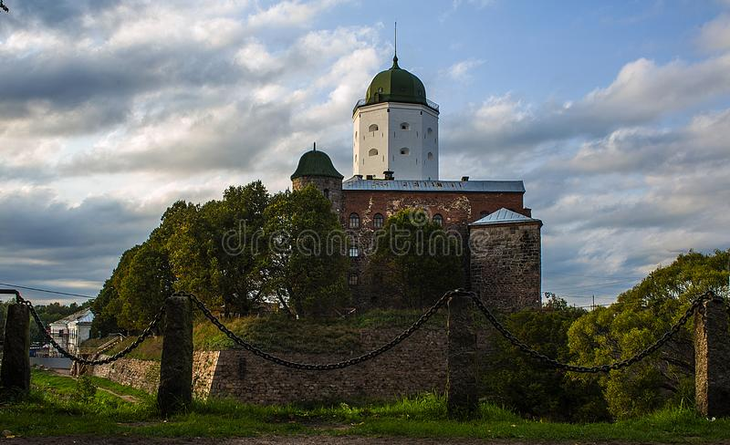 Vyborg. Preserved features of the medieval city. St. Olaf`s castle, market square, houses and towers, water and stone ... Greate stock photos