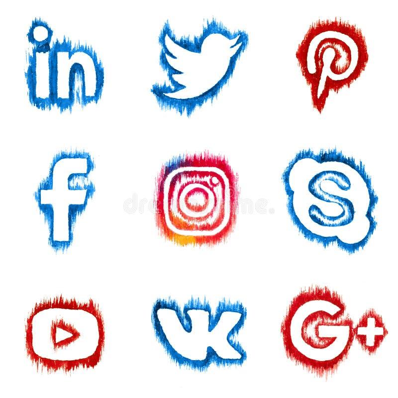 VYBORG, ROSJA - 20th PAŹDZIERNIK, 2016 Akwareli sieci ogólnospołeczne ikony: LinkedIn, Pinterest i inny, świergot, royalty ilustracja