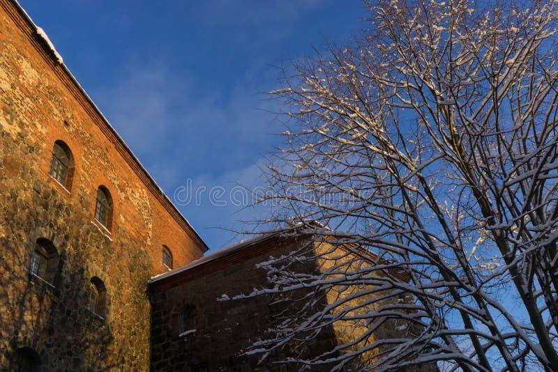 VYBORG, RUSIA - 5 de enero de 2019 castillo viejo de Vyborg en un día soleado frío del invierno imagen de archivo