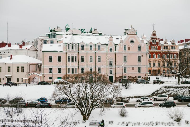 Vyborg. Russia - Jan 2018: The historical district near the Old Town Hall and Castle. Winter in Russia royalty free stock images