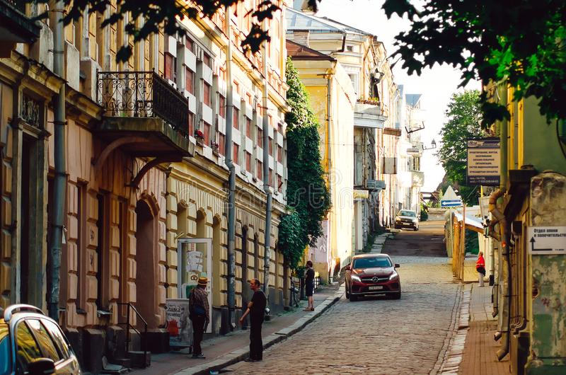 Historical city Center. Medieval narrow paved street with Old Finnish buildings and houses stock photography