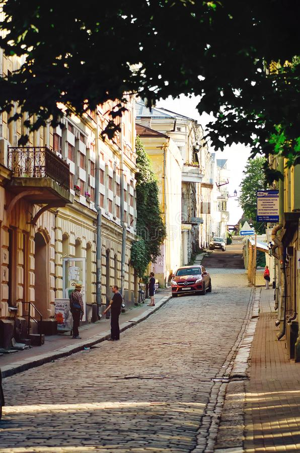 Historical city Center. Medieval narrow paved street with Old Finnish buildings and houses. royalty free stock image