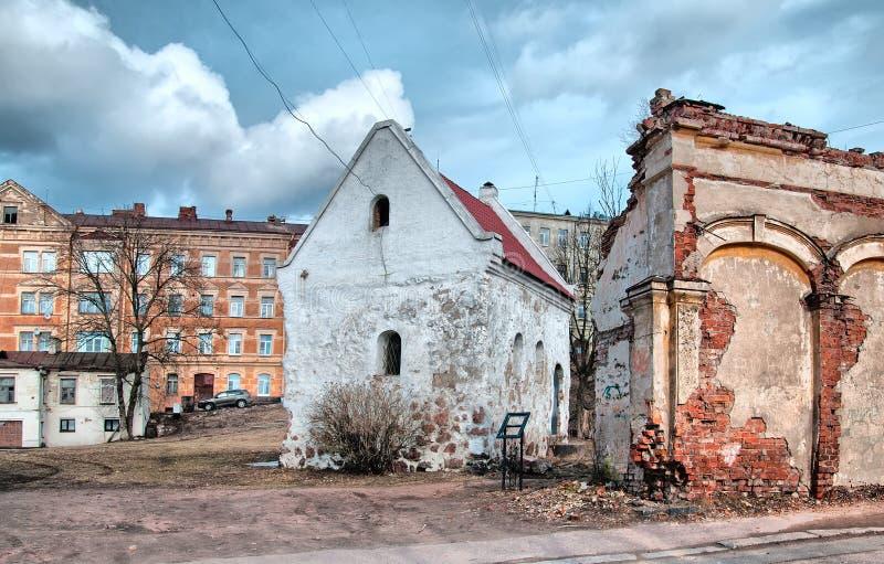 Vyborg Ryssland Huset av skrån av köpmän royaltyfri fotografi