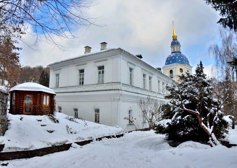 Vydubychi Monastery in wintertime, Kyiv, Ukraine,view from Hryshko National Botanical Garden, left bank of the Dnipro River stock image