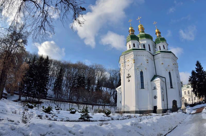 Vydubychiklooster en Heilige George Cathedral, Kyiv, de Oekraïne stock fotografie