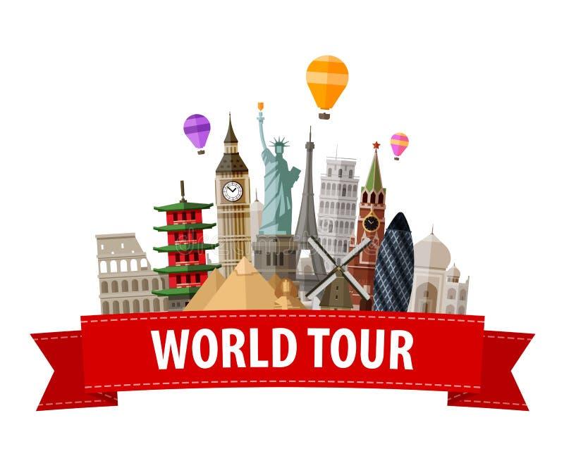 Vykort för design för illustrationvektorlägenhet med berömda världsgränsmärkesymboler royaltyfri illustrationer