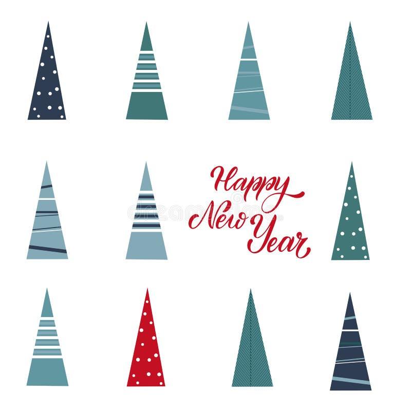 Vykort för glad jul och för lyckligt nytt år vektor illustrationer