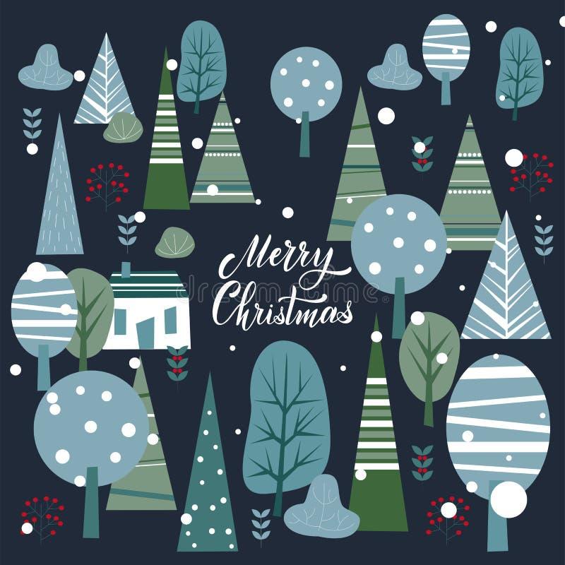 Vykort för glad jul och för lyckligt nytt år stock illustrationer