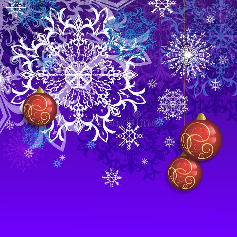 Vykort för lyckönskan på jul och nytt år med bollar och snöflingor vektor illustrationer