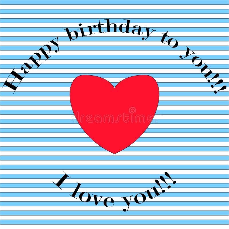 Vykort för lycklig födelsedag, randig bakgrund och röd hjärta, inscr stock illustrationer