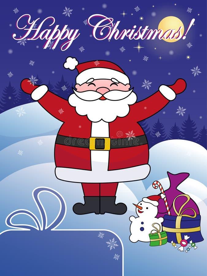 Vykort för lycklig jul med jultomten fotografering för bildbyråer
