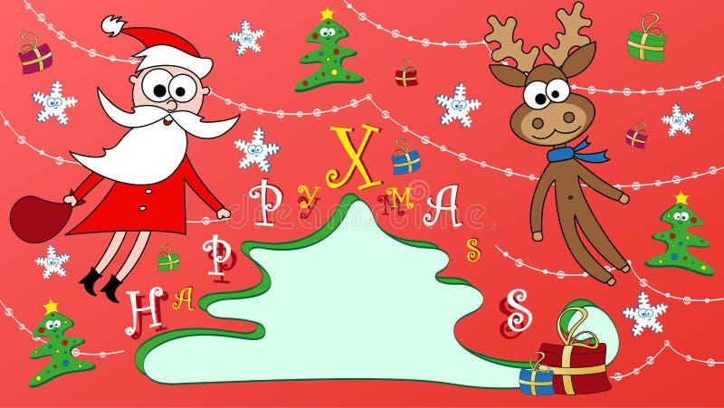 Vykort för lycklig jul med jultomten och Rudolph royaltyfri foto