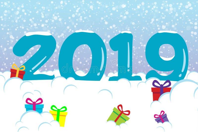 2019 vykort för lyckligt nytt år med fallande snö för natt på blått-rosa färger himmel, djupfrysta nummer 2019, snödrivor, gåvor  royaltyfri illustrationer